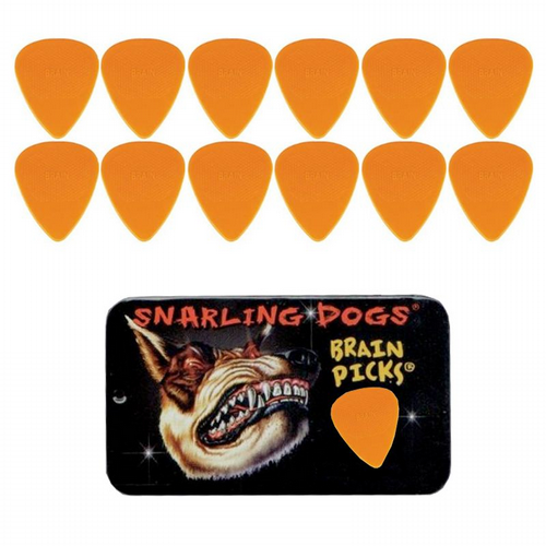 Snarling Dogs Brain Picks Set 1.14mm Orange EX/HVY (12 Plectrums) Supplied in Tin